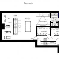 Эскизный проект индивидуального жилого дома «Локомотив». План подвала. Архитектор: Сергей Косинов