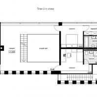 Эскизный проект индивидуального жилого дома «Локомотив». План 2-го этажа. Архитектор: Сергей Косинов